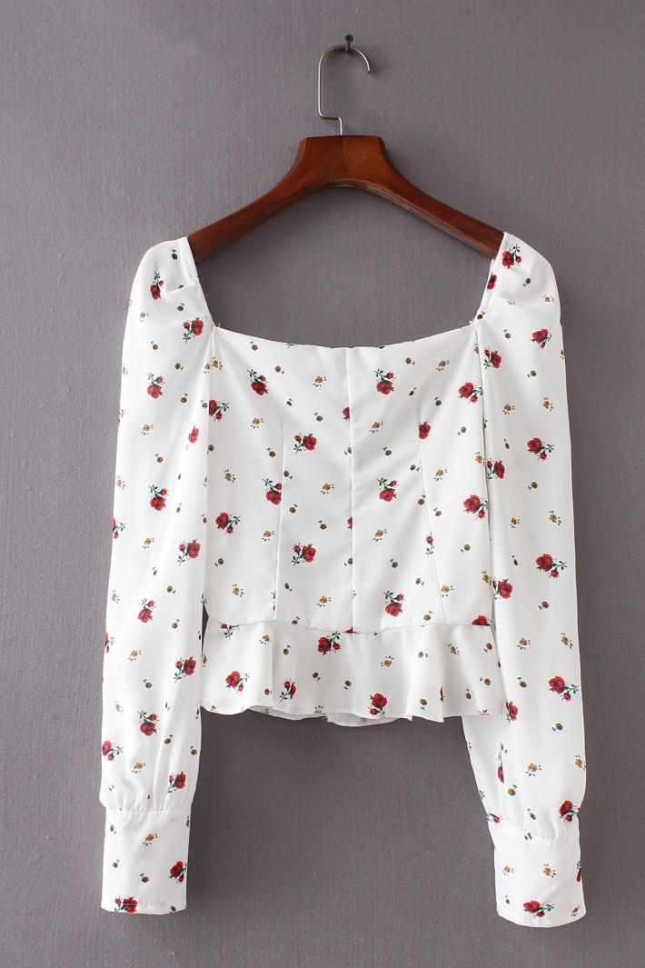 Women Sweetheart Neck Floral Print Blouse with Ruffles Hem Vintage Long Sleeve Peplum Top Asia Size