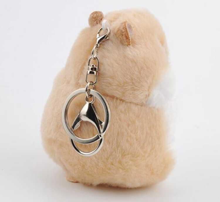 12 cm De Pele Pompom Keychain Hamster Fofo Chaveiro Para Carros Bugigangas Carro chaveiros Chaveiro Faux Pele De Coelho Pom Pom chaveiros