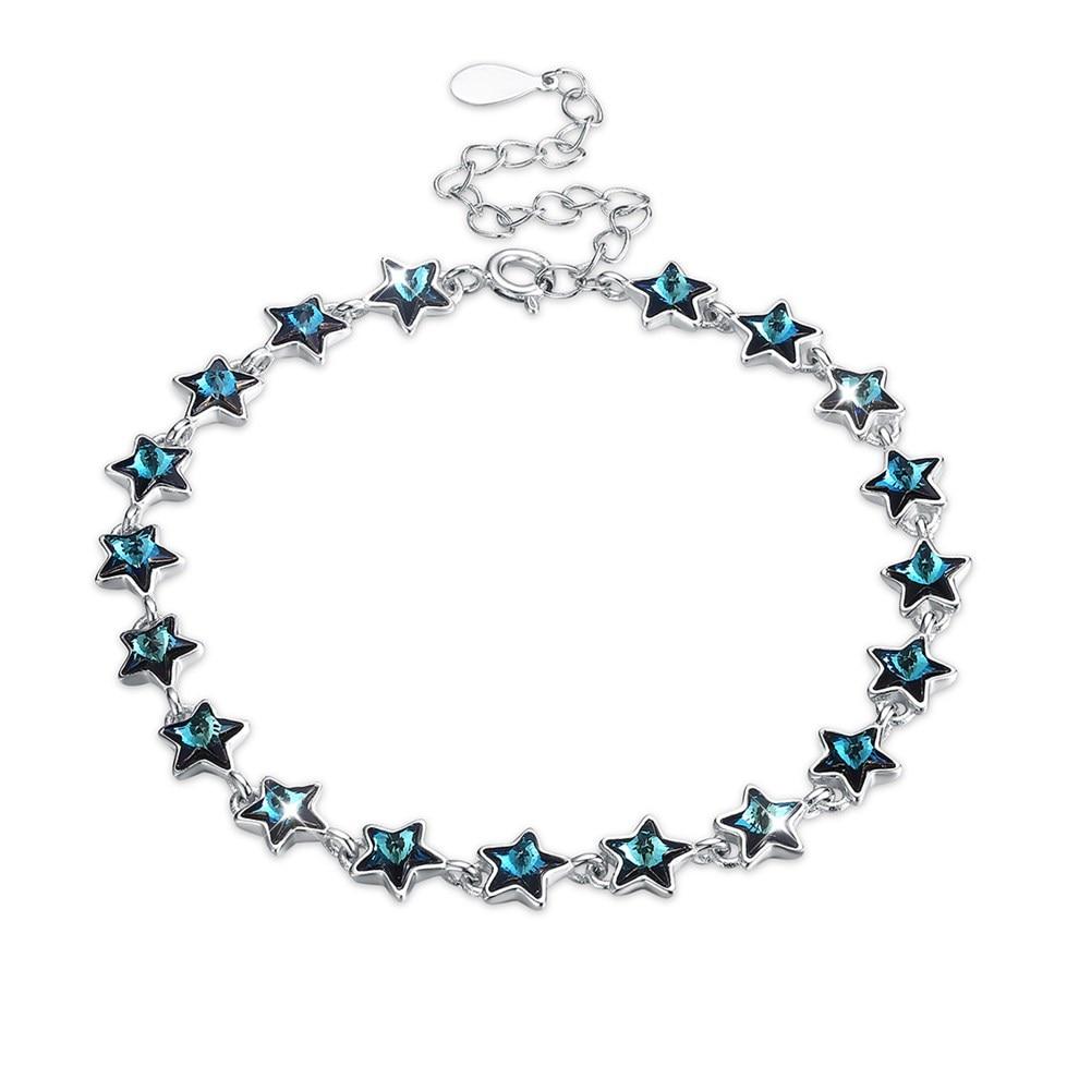 LEKANI Crystals from Swarovski Element Star Beads Bracelets 925 Sterling Silver Bracelet Elegant Women Jewelry Accessories long yi lotus garnet bracelet bracelets jewelry beads jewelry and accessories to carry 8000437