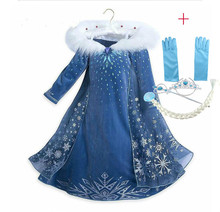 Girls Dress Queen Elsa Dress Costume Snow Cosplay Princess Anna Party Dresses for Girls Children Kids Clothing kids girls halloween christmas party dresses snow white anna elsa minnie princess tutu dress children dance cosplay cute costume