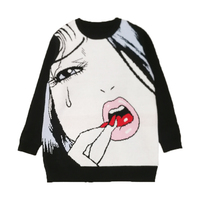 Luxury Designer Brand Knitted Sweater for Women Red Lips Tears Girl Wool Loose Knitted Pullover Sweater