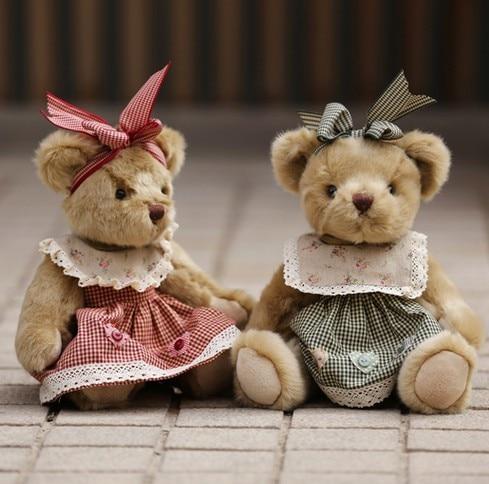 Mignon rétro ours en peluche jouets en peluche jouets en peluche ours en vêtements poupées avec Joints mobiles spécial pour enfants amis cadeau 35 cm 1 pc