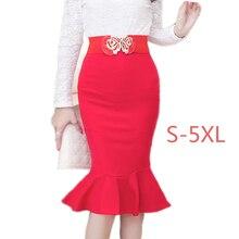5XL Plus Size Pencil Skirt High Waist Mermaid Skirt 2016 Chic Fashion Women Leather Skirts Autumn Winter Long skirts for women