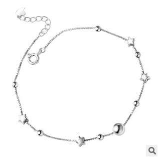 Hot Sell 2016 New Fashion Lucky Star Design 925 Sterling Silver Anklets for Women Jewelry Wholesale Gift
