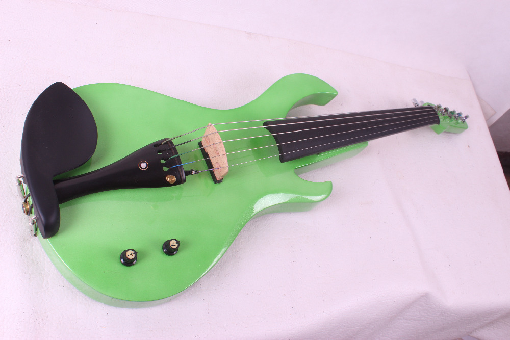 green color big pick up 5 String Electric Violin New 4/4 Flame guitar shape Solid wood Powerful Sound fret 5 38#