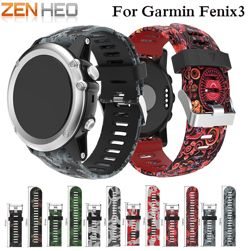 ZENHEO 26mm Width Watch Band for Garmin Fenix 3/Fenix 5X Strap Band Outdoor Sport Silicone Watchband for Garmin Fenix 3 Band garmin fenix 5 sapphire black black band