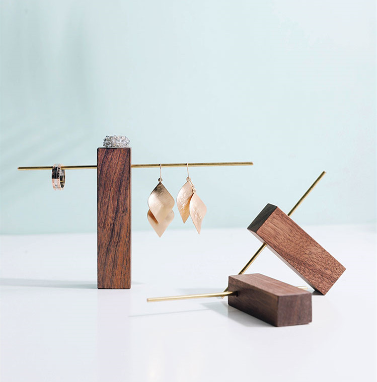 New Fashion Black Walnut Earrings Display Holder Metal T Shape Earrings Display Stand Jewelry Display Holder