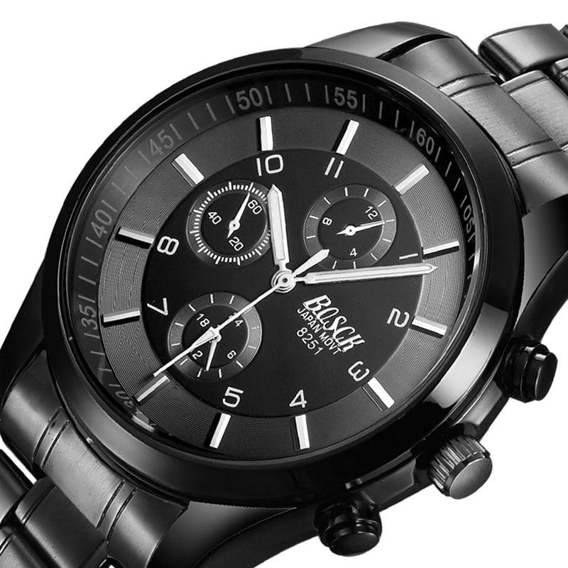BOSCK 2018 New Ultra Thin Men's Black Watches Gold Belt Sports Luminous Explosion Proof Imitation Quartz Wrist Watches