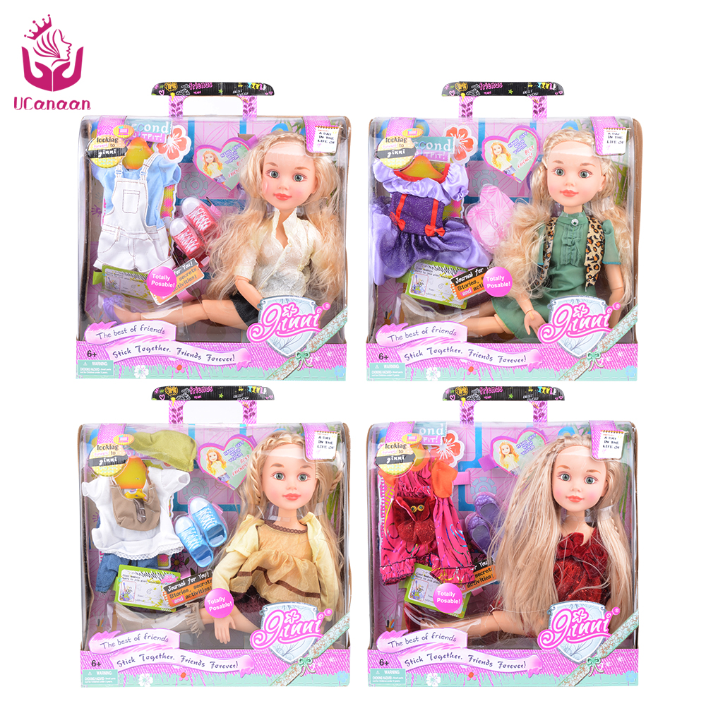 2 Suit Outfit Fashion Sweet Girl Doll Toys 18 45cm Princess Dolls Joint Body Christmas Birthday Gift As American Sweet Girl DIY american girl doll clothes for 18 inch dolls beautiful toy dresses outfit set fashion dolls clothes doll accessories