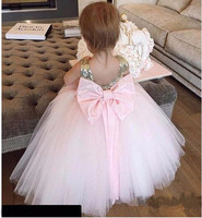 Pink Baby Girls Birthday Gown Flower Girl Dresses with Bow Sequins Top Puffy Tulle Kids Dress Size1 16Years