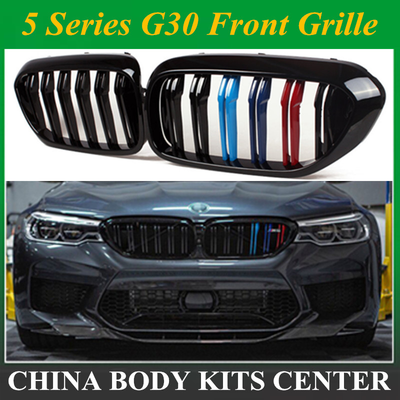 1 Pair: For BMW 5 Series G30 G38 M5 Front Kidney Bumper Racing Grill 2 Fin ABS Gloss Black M Grille Replacement 520i 530i 540i1 Pair: For BMW 5 Series G30 G38 M5 Front Kidney Bumper Racing Grill 2 Fin ABS Gloss Black M Grille Replacement 520i 530i 540i
