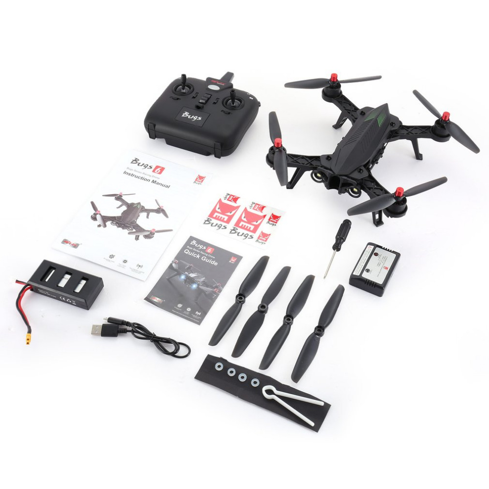 MJX Bugs 6 B6 2.4GHz 4CH 6 Axis Gyro Pre-assembled RTF Racing Drone High Speed 1806 1800KV Motor Brushless RC QuadcopterMJX Bugs 6 B6 2.4GHz 4CH 6 Axis Gyro Pre-assembled RTF Racing Drone High Speed 1806 1800KV Motor Brushless RC Quadcopter