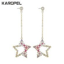 Luxury Delicate Flower Stars Micro Paved Cubic Zircon Long Earring Wedding Tassel Fashion Jewelry