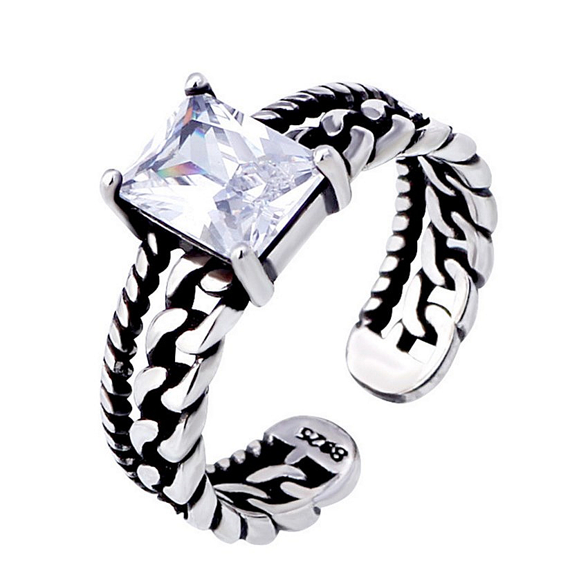 NEHZY Silver three-color Super Flash zircon opening ring men and women fashion jewelry chain Twisted Thai Silver Ring