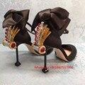 2017 Runway Fashion Stiletto Rhinestone Ladies Sandals High Heels Summer Shoes Big Bowtie Party Women Silk Sandals Mary Janes