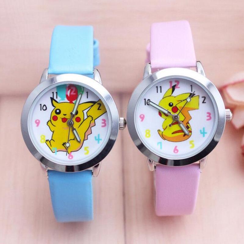 2018 Top Fashion Brand Pikachu Quartz Watch Children Girl Women Leather Watch Wristwatch Cut Lovely