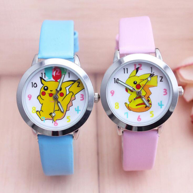 2018 Top Fashion Brand Pikachu Quartz Watch Children Girl Women Leather Watch Wr