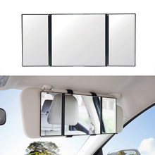 Car Visor Mirror Makeup Travel Vanity Mirror Cosmetic Tri-Fold Auto Mirror Car Accessories(China)