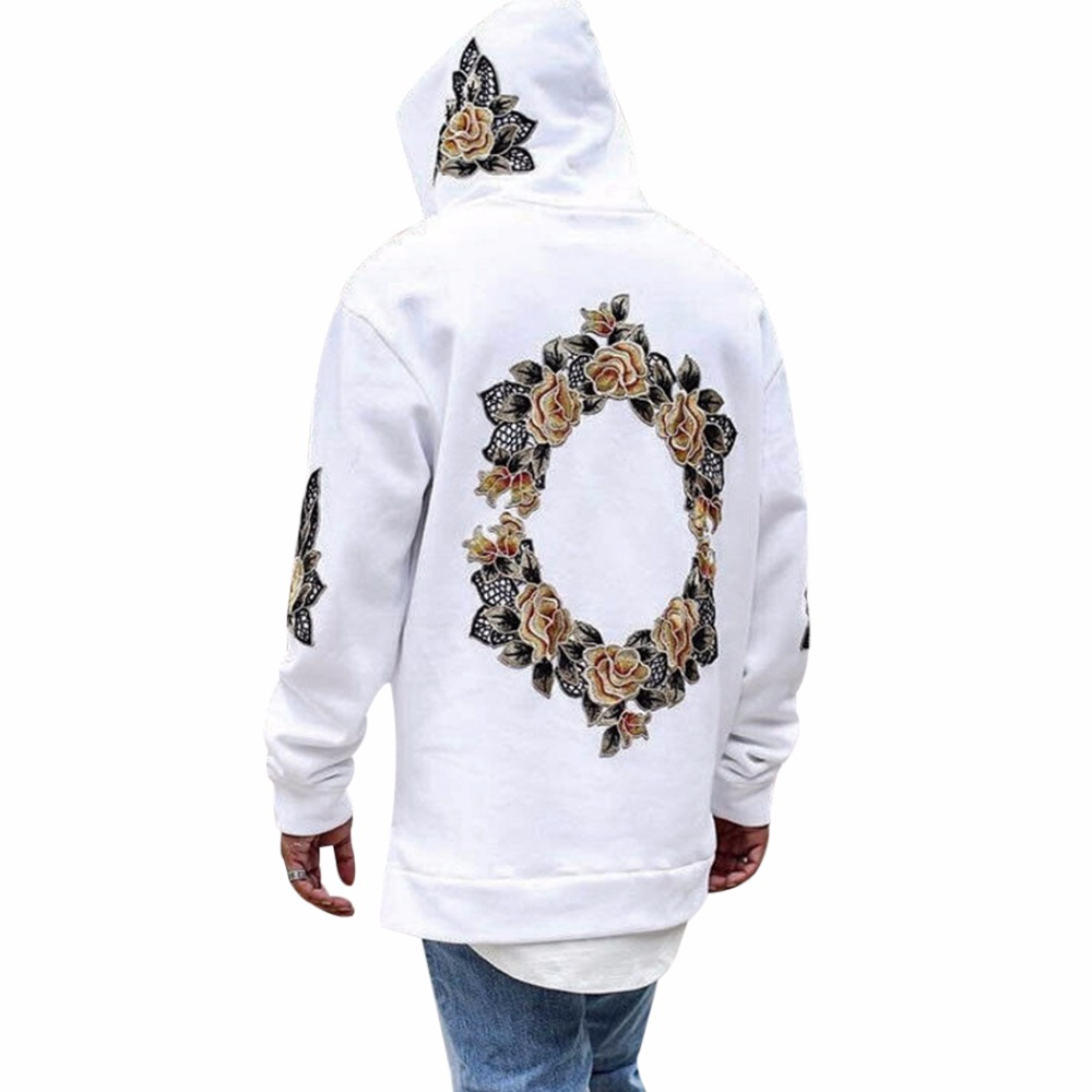 2018 Fashion Autumn New Design Flower Print Hoodies Men Hip Hop Cool Mens Hooded Pullovers Mens Sweatershirt Streewear Hombre