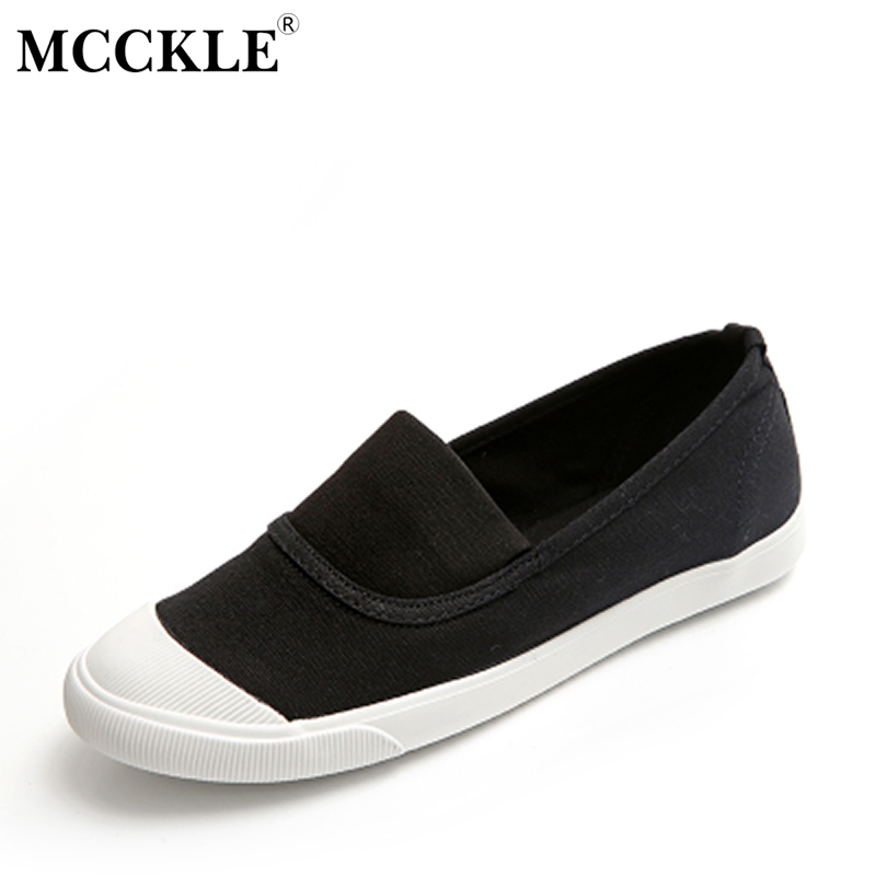 MCCKLE 2017 Female Shoes Shallow Women Flat Fashion Canvas Slip on Black Comfortable Style Loafers For Ladies Woman Shoes fashion tassels ornament leopard pattern flat shoes loafers shoes black leopard pair size 38