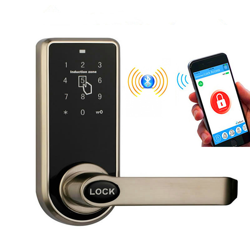 Bluetooth Smart Electronic Keyless Keypad Home Entry Door Lock with Smartphone Controlled for Hotel and Apartment Compatible electronic rfid card door lock with key electric lock for home hotel apartment office smart entry lk1008ebg