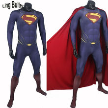 Ling Bultez High Quality 3D Logo Superman Costume With Muscle Shade 3D Print Man of Steel Lycra Suit Movie Superman Spandex Suit
