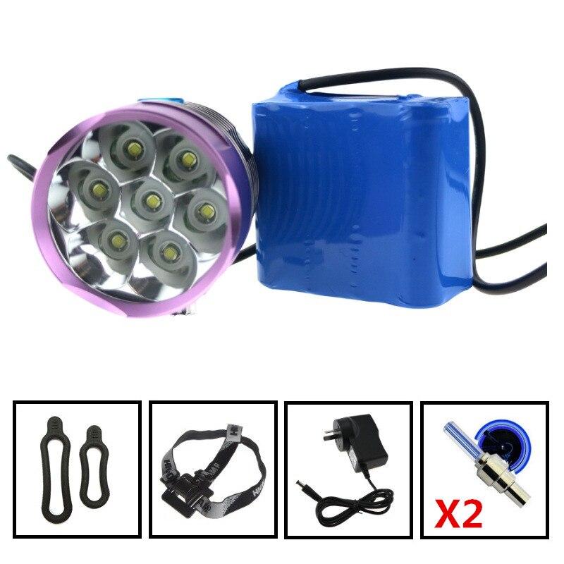 10000 Lumens 7 X Cree XM-L T6 LED Bicycle Lights Luz Da Bicicleta 12000mAh 8*18650 8.4V Battery Pack /Charger /Headstrap + Gifts