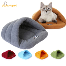Apaulapet Pet Bed Small Dog Puppy Kennel Sofa Fleece Material Bed Cat Mat Dog Bed House Cat Sleeping Bag Warm Nest For Sale