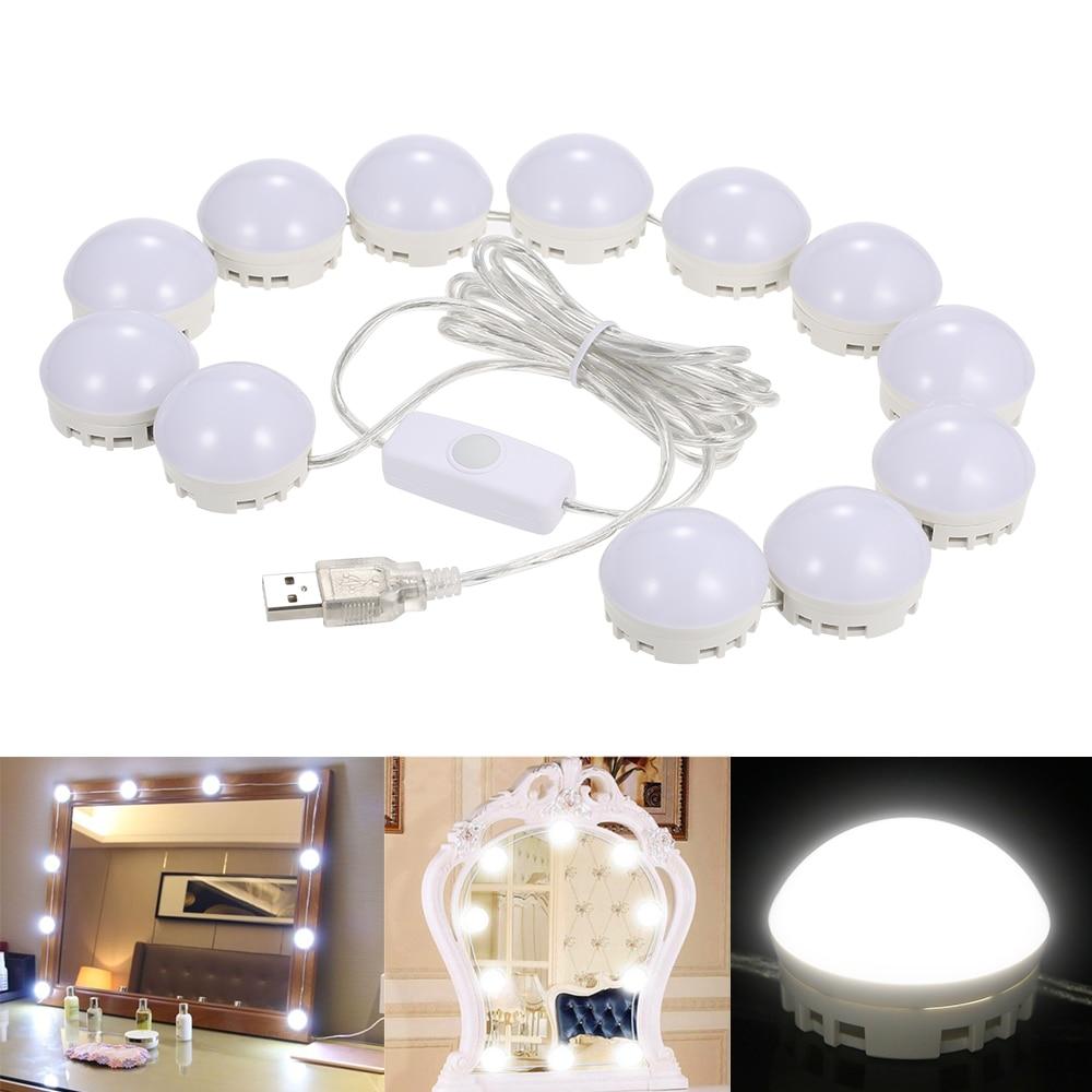 Makeup Mirror Vanity LED Light Bulbs Kit USB Charging Port Cosmetic Lighted Make up Mirrors Bulb