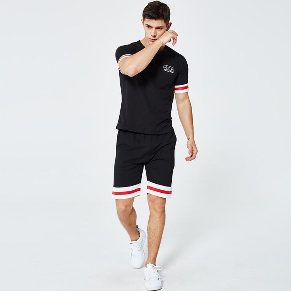 Streetwear Set Men Short Sleeve T Shirt Shorts + Short Pants Men's Fashion Tracksuits Causal Sportsuit Casual vetement homme