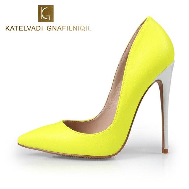 df90483b Obuwie damskie wysokie obcasy 12 CM żółty buty kobieta pompy panie wysokie  obcasy Sexy Pointed Toe