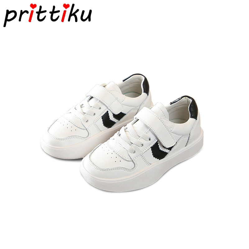 Autumn 2018 Toddler Boy Girl Genuine Leather Sneakers Little Kid Classic White School Trainers Children Brand Sport Walk Shoes