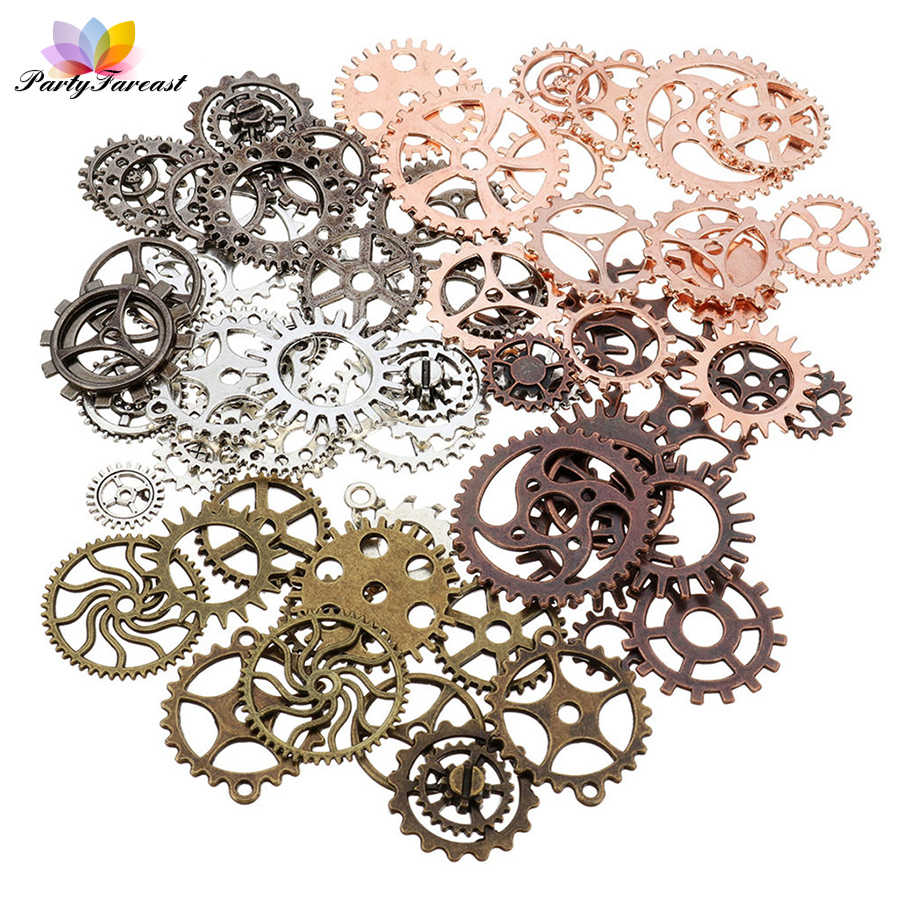 PF 50g Random Color Size Metal Gear Diy Handmade Craft Supplies Materials for Necklace Earring Chain Jewelry Making Manualidades