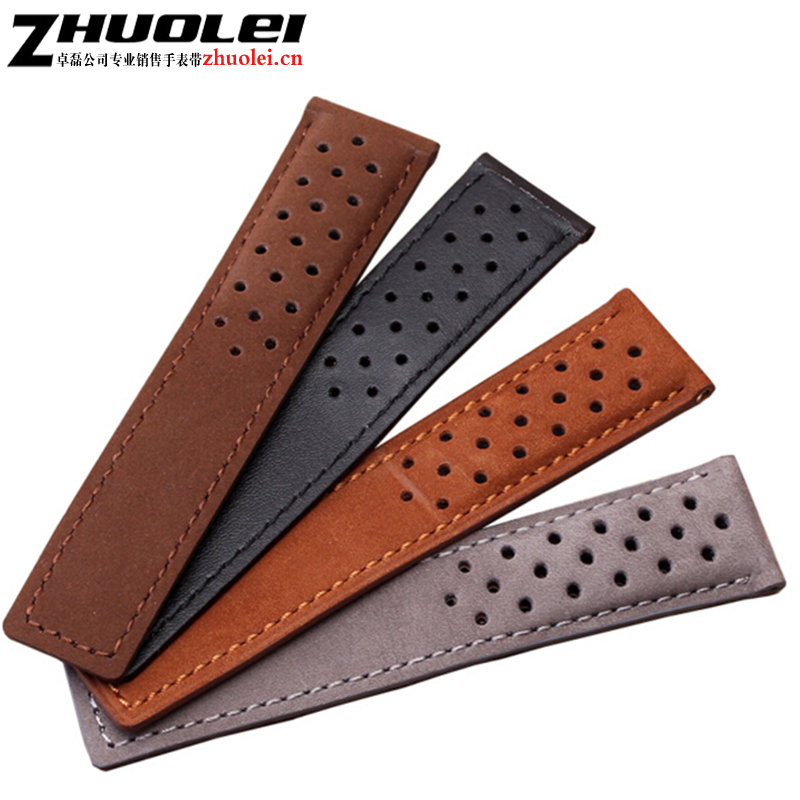 22mm Top grade Genuine Leather Watch Band silver Black deployment Watch buckle For Mens Strap Bracelets black gray brown 22mm 24mm black mens genuine leather watch strap band