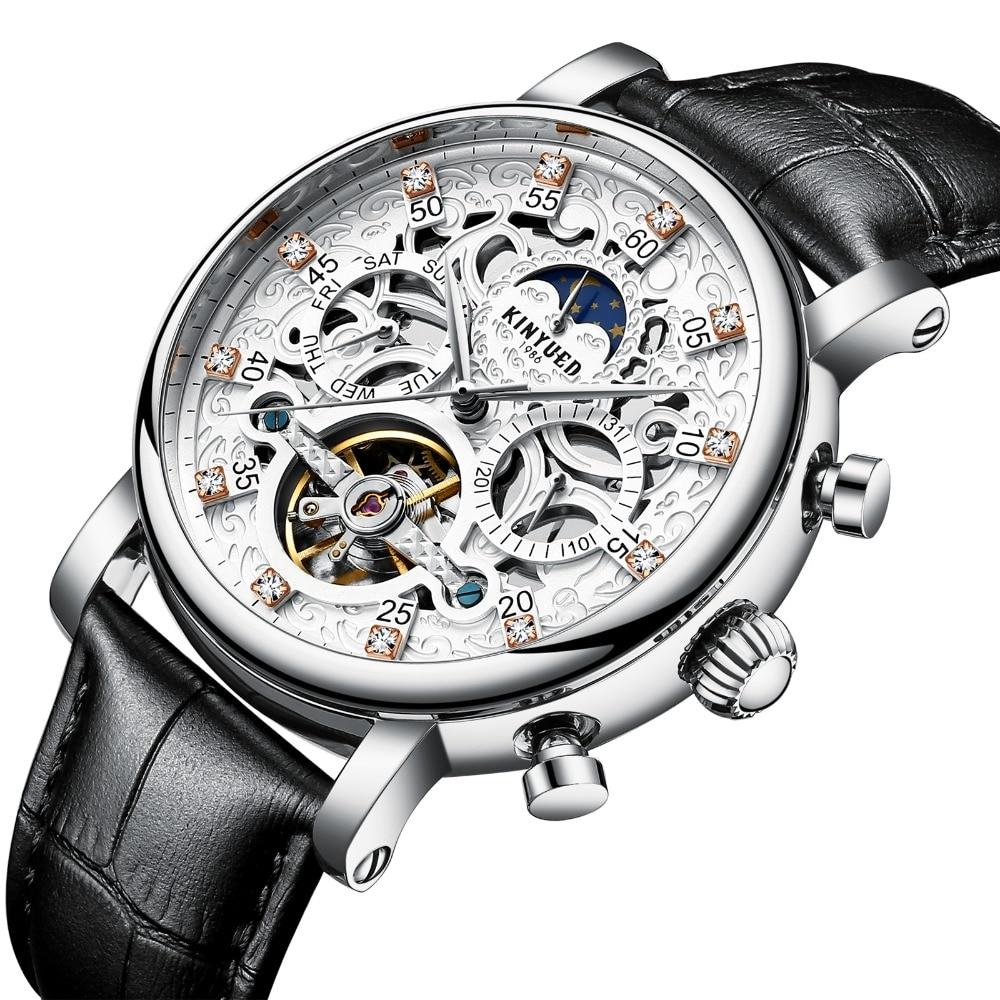 KINYUED esqueleto automático reloj hombres sol Luna fase impermeable hombres Tourbillon relojes mecánicos marca superior relojes de pulsera de lujo-in Relojes mecánicos from Relojes de pulsera    1