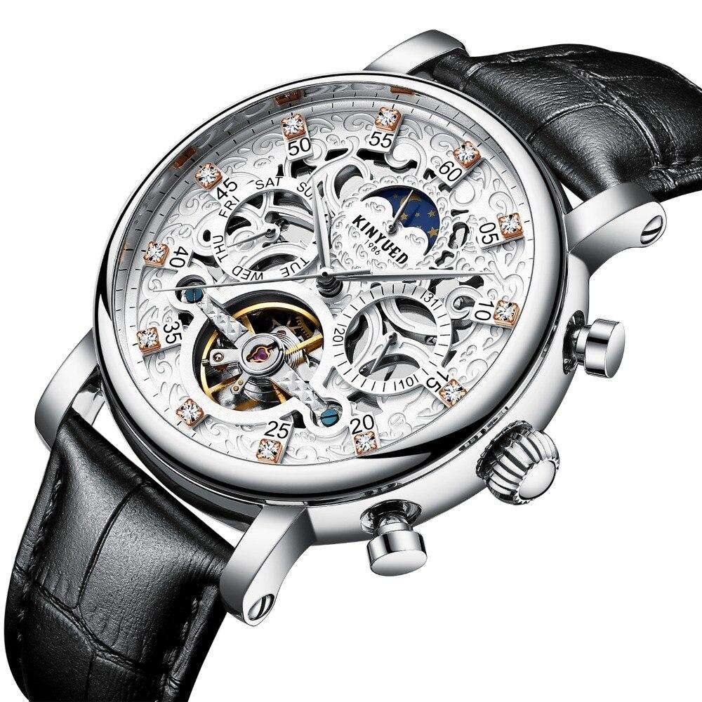 KINYUED squelette montre automatique hommes soleil lune Phase étanche hommes Tourbillon montres mécaniques Top marque montres de luxe