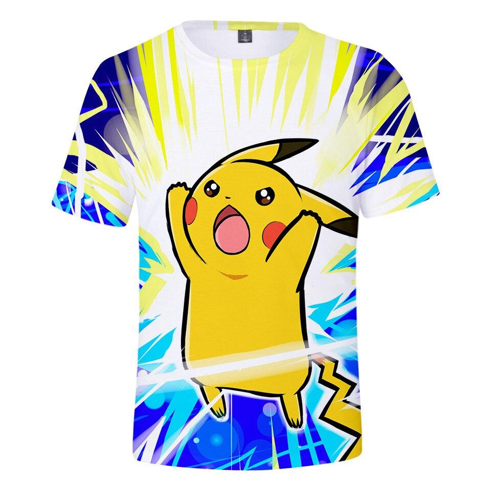 2019 Neue Pikachu Kurzarm T-shirt Kinder Kleidung Frühling Und Sommer Explosion Modelle Pokemon Digitale 3d Druck