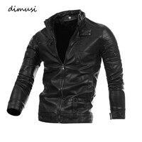 DIMUSI Для мужчин PU куртка кожаные пальто осень Slim Fit Искусственная кожа Мото-куртки мужской пальто брендовая одежда 3XL, TA315