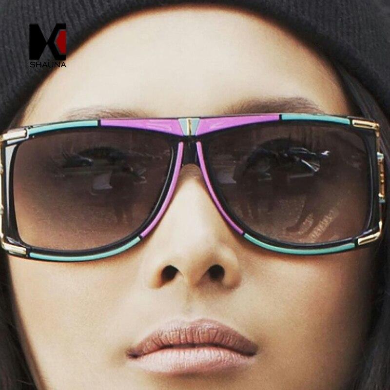 SHAUNA 9 Couleurs Printemps Été Styles Femmes Double Couleurs Carré lunettes de Soleil De Mode Hommes Gradient/Objectif Clair Lunettes