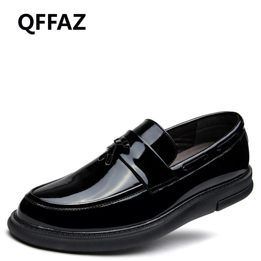 Hommes Mocassins Qffaz On Verni Formelles Cuir Slip Mariage En Rond Black Oxford De Chaussures Robe Tassel Bout fYvI76bgy