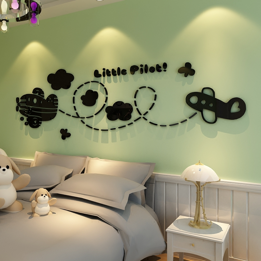 Small aircraft pilots acrylic wall stickers cartoon childrens small aircraft pilots acrylic wall stickers cartoon childrens room wall decor baby room 3d perspective bedroom walls decals in wall stickers from home amipublicfo Image collections