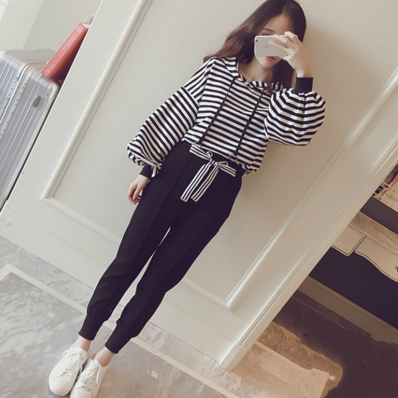Autumn Korean stripe Woman's sets plus size hoodies sweatshirt+casual pencil pants feet student 2 two-piece set tracksuit women 1