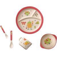 5pcs Set Bamboo Fiber Children Tableware Set Baby Dinnerware Plate Dishes Bowl Cup Spoon Plate Fork
