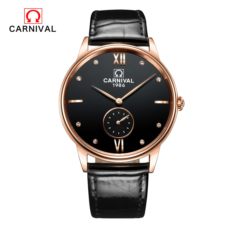 Watches Men Luxury Top Brand Carnival New Fashion Men's Big Dial Designer Quartz Watch Male Wristwatch relogio masculino relojes new 2018 men watches luxury top brand skmei fashion men big dial leather quartz watch male clock wristwatch relogio masculino