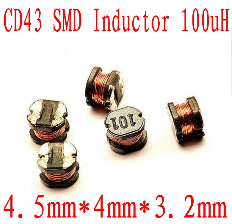 2000pcs LOT SMD Power Inductor CD43 100UH 101 4 5 4 3 2MM Unshielded winding inductor