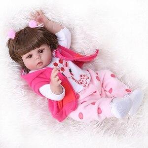 Image 4 - NPK 48 CM bebe pop reborn peuter meisje pop in roze jurk full body zachte siliconen realistische baby Bad speelgoed waterdicht