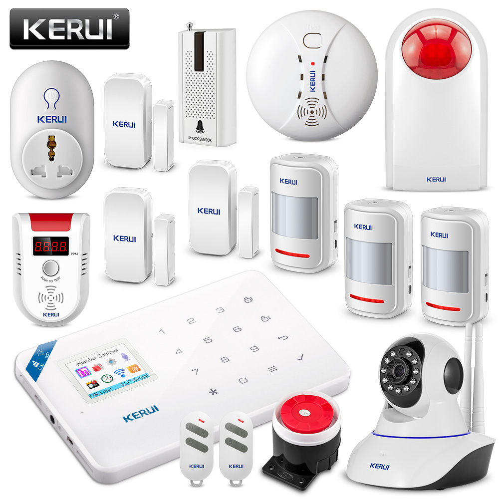 KERUI WIFI GSM Burglar Security Alarm System APP Control Home PIR Motion Fire Protection Waterproof Siren With WIFI IP Camera fuers wifi gsm sms home alarm system security alarm new wireless pet friendly pir motion detector waterproof strobe siren