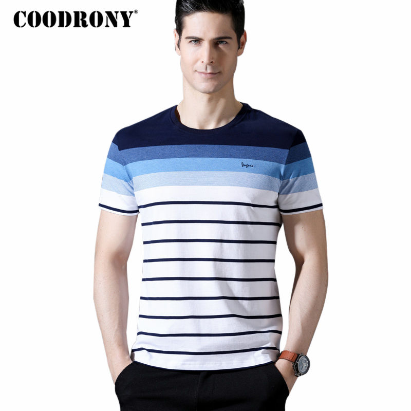 COODRONY Short Sleeve T Shirt Men 2018 Spring Summer New Arrival Mne's Casual O-Neck T-Shirt Pure Cotton Tee Striped T Shirts 10