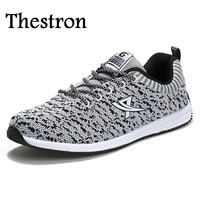 Thestron Mens Runners Shoes Comfortable Mens Running Sneakers All Seasons Man Sport Shoes Black Gray Mens