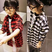 2-7Y Girls Toddler Long Sleeve T Shirts Kids Plaids Shirt Checks Clothes Shirts 2color styles